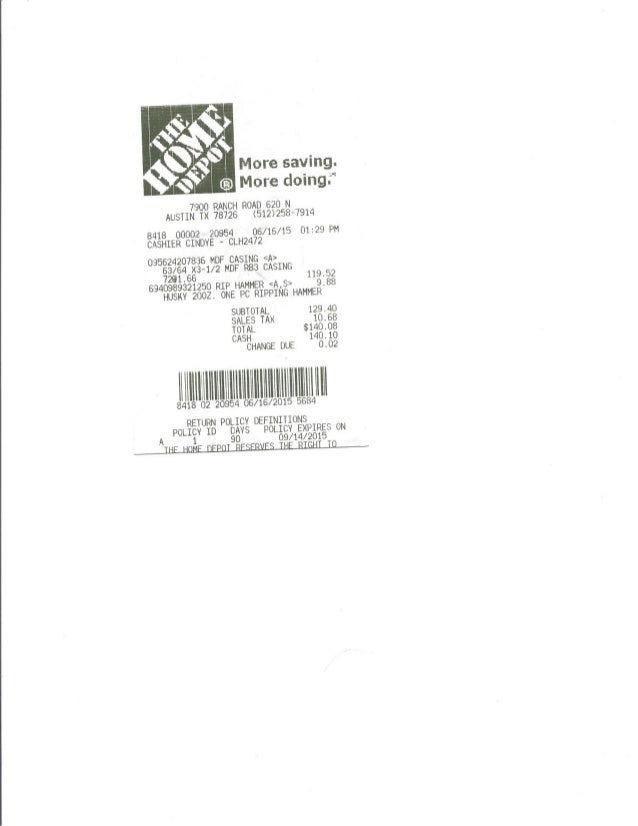 Westhaven receipt 06 16-15 baseboards -new baseboards in