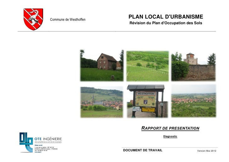 Commune de Westhoffen                          PLAN LOCAL DURBANISME                           Révision du Plan dOccupatio...