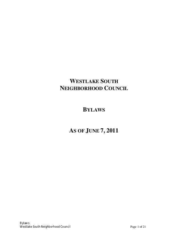 WESTLAKE SOUTH                           NEIGHBORHOOD COUNCIL                                      BYLAWS                 ...
