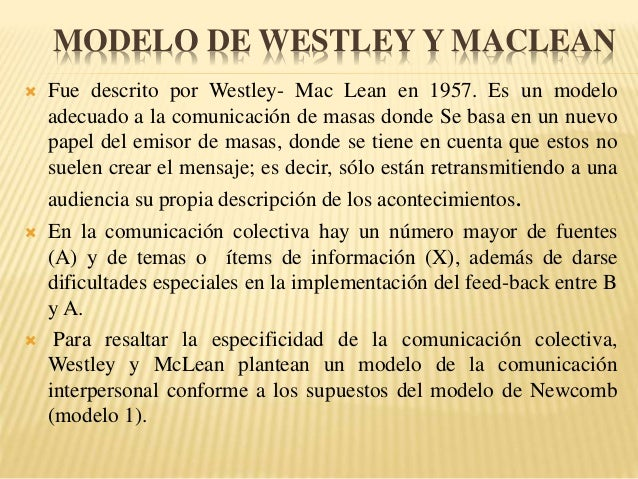 westley maclean Westley and maclean's model of communication: a model that advocates the beginning at responds and emphasizes feedback.