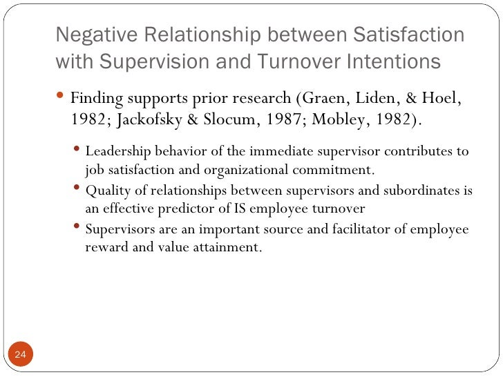 the relationship between job satisfaction and turnover intention