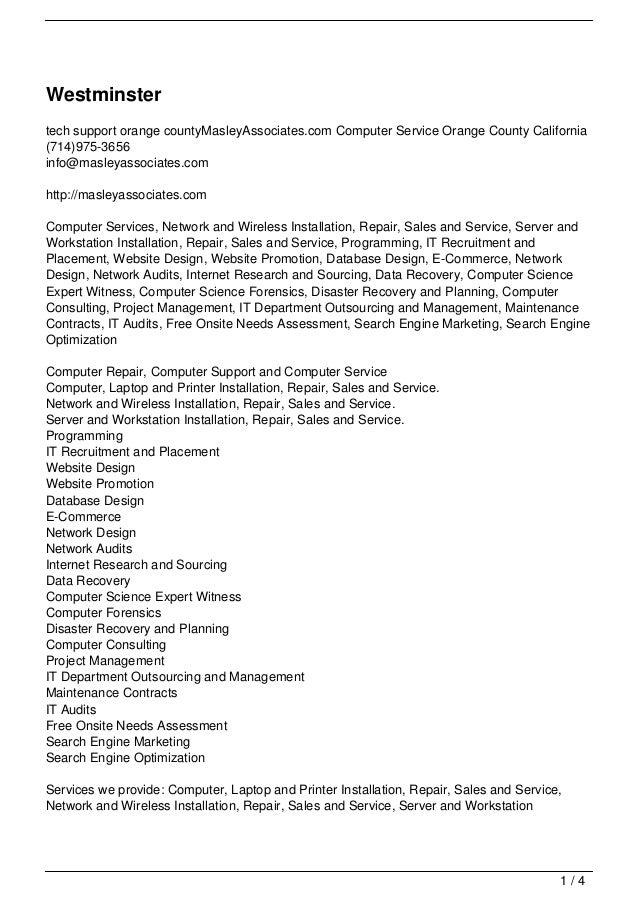 Westminstertech support orange countyMasleyAssociates.com Computer Service Orange County California(714)975-3656info@masle...
