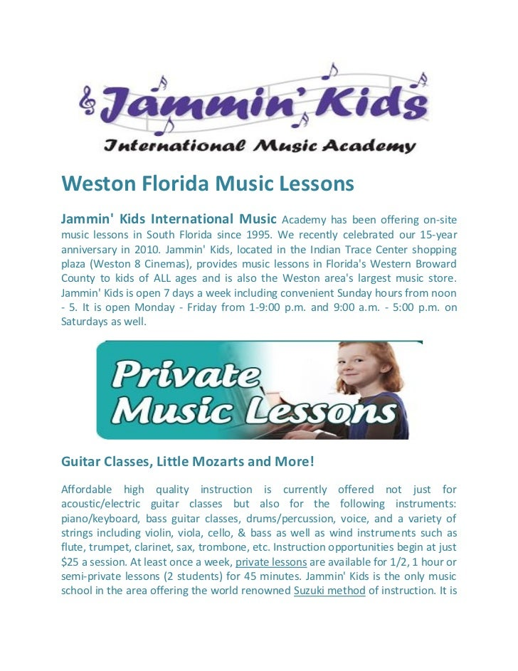 Weston Florida Music LessonsJammin Kids International Music             Academy has been offering on-sitemusic lessons in ...