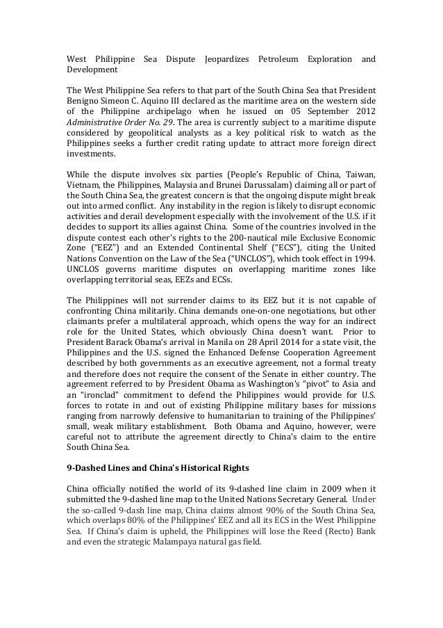 West   Philippine   Sea   Dispute   Jeopardizes   Petroleum   Exploration   and   Development      The...
