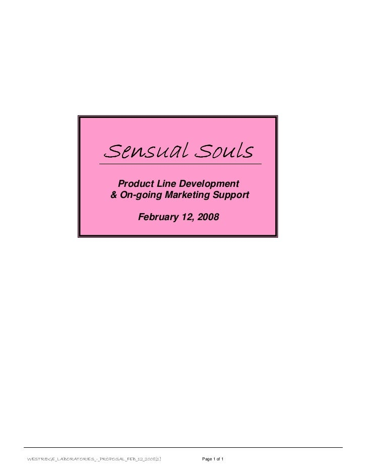 Sensual Souls                              Product Line Development                             & On-going Marketing Suppo...