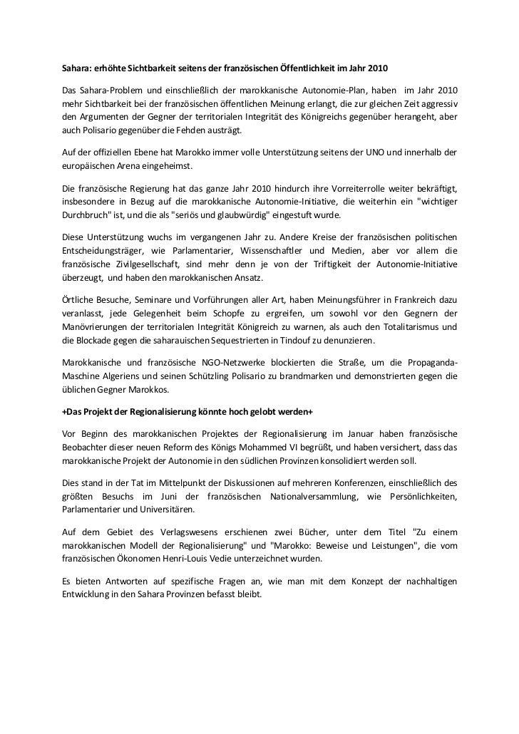Sahara: erhöhte Sichtbarkeit seitens der französischen Öffentlichkeit im Jahr 2010Das Sahara-Problem und einschließlich de...
