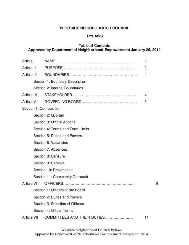 1 Westside Neighborhood Council Bylaws Approved by Department of Neighborhood Empowerment January 26, 2014 WESTSIDE NEIGHB...