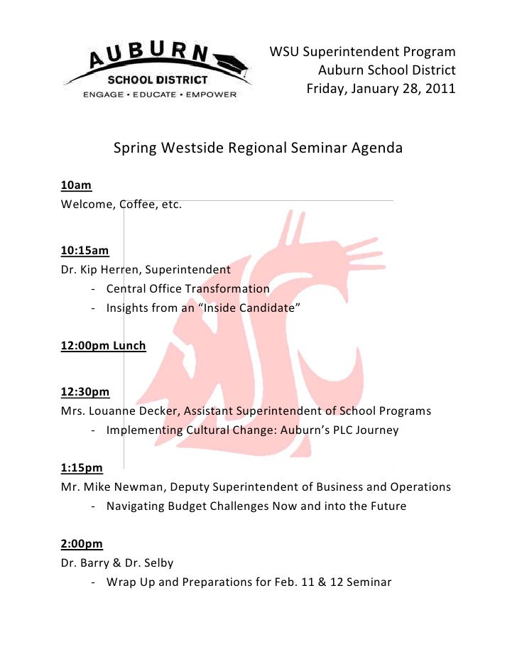 38100-8890WSU Superintendent Program<br />Auburn School District<br />Friday, January 28, 2011<br />Spring Westside Region...