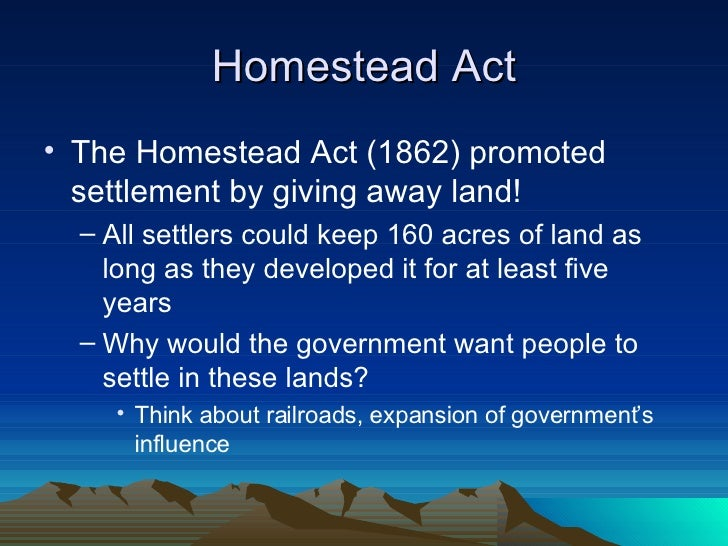 Westward expansion and settlement for Kansas homestead act