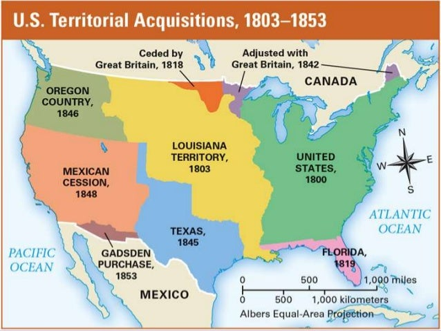 Westward Expansion And Sectionalism - Us land acquisition map