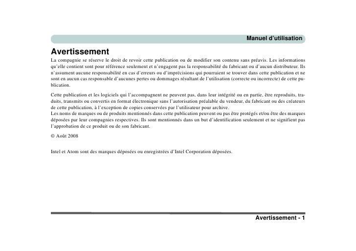 Manuel d'utilisation  Avertissement La compagnie se réserve le droit de revoir cette publication ou de modifier son conten...