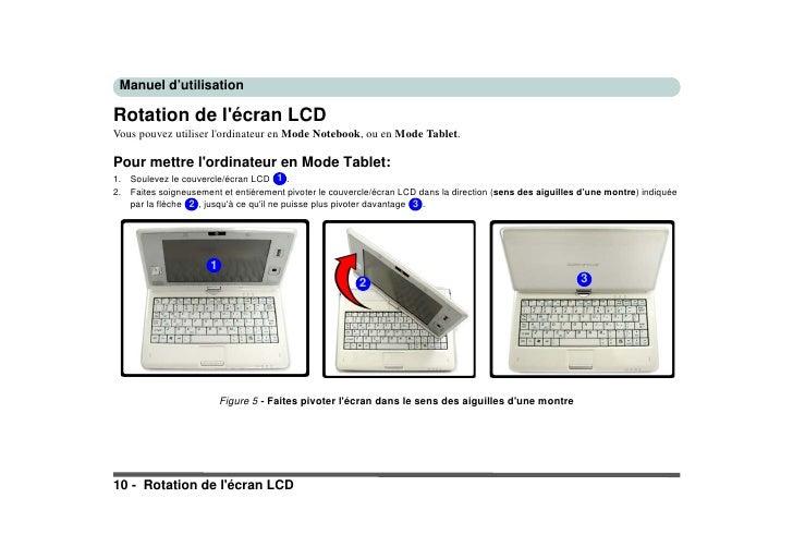 Manuel d'utilisation  Rotation de l'écran LCD Vous pouvez utiliser l'ordinateur en Mode Notebook, ou en Mode Tablet.  Pour...