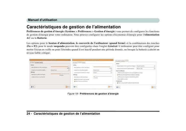 Manuel d'utilisation  Caractéristiques de gestion de l'alimentation Préférences de gestion d'énergie (Système > Préférence...