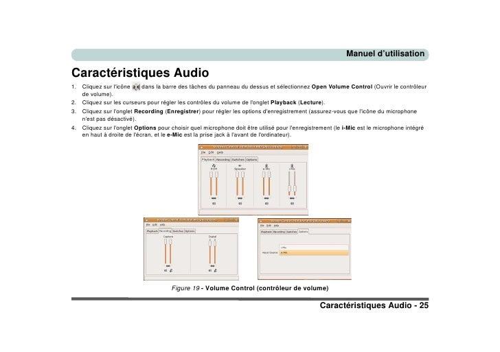 Manuel d'utilisation  Caractéristiques Audio 1.   Cliquez sur l'icône     dans la barre des tâches du panneau du dessus et...