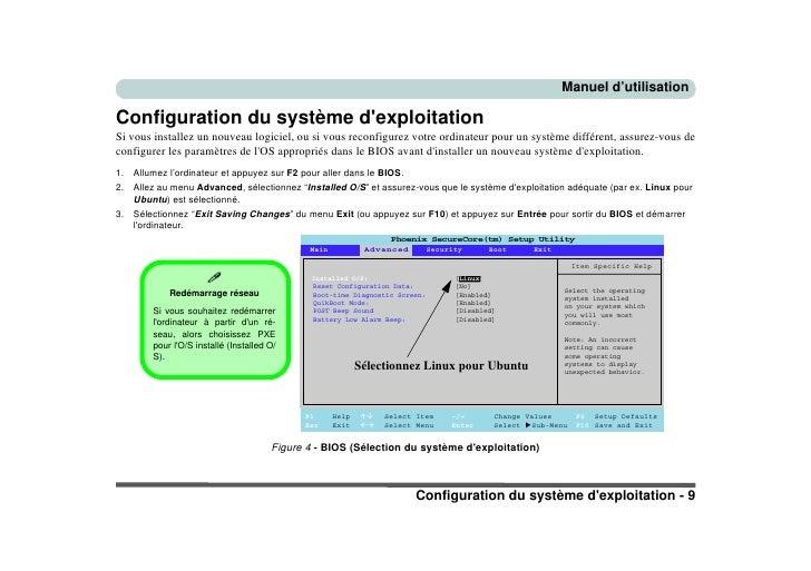 Manuel d'utilisation  Configuration du système d'exploitation Si vous installez un nouveau logiciel, ou si vous reconfigur...