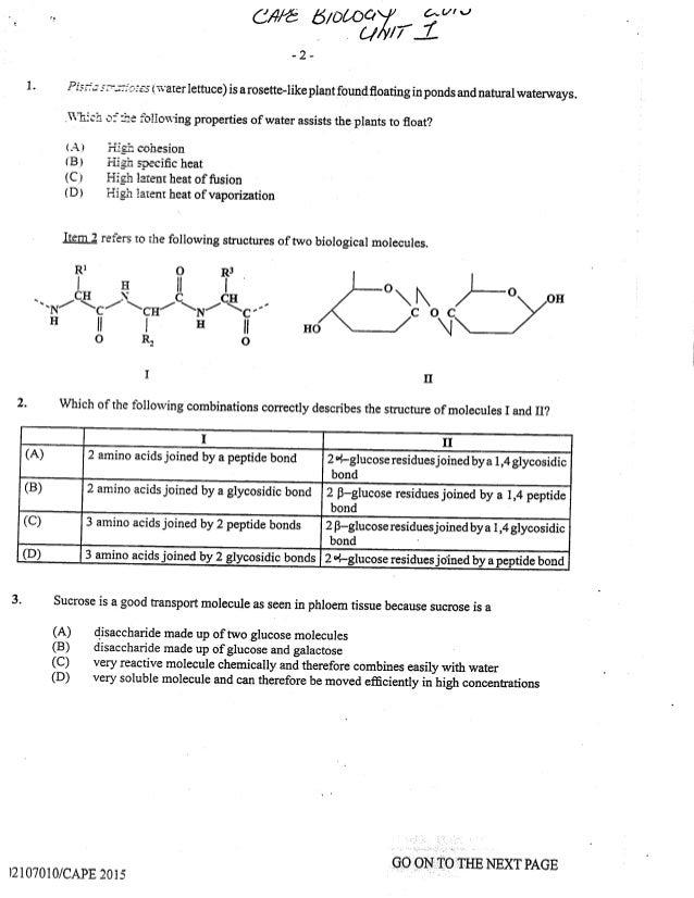 Cape Biology 2015 Unit 1 Paper 1
