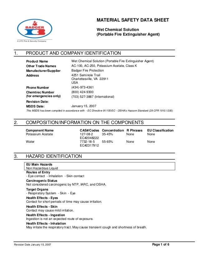 MATERIAL SAFETY DATA SHEET Wet Chemical Solution (Portable Fire Extinguisher Agent) Revision Date January 15, 2007 Page 1 ...