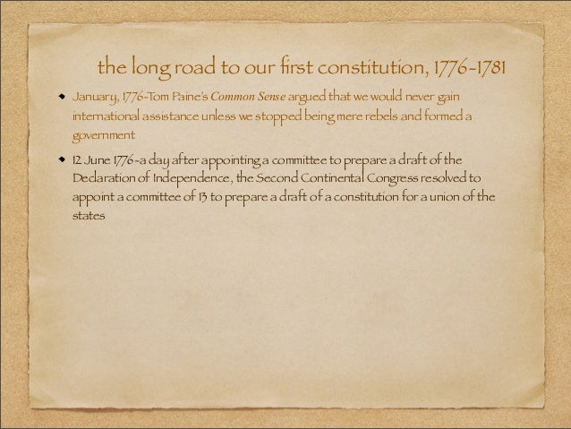 the long road to the drafting of the articles of confederation Peter hanson michael talked about john hanson, who served as president of  congress under the articles of confederation, and argued that.