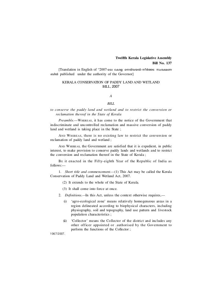 Twelfth Kerala Legislative Assembly                                                                       Bill No. 137   [...