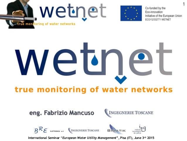 "International Seminar ""European Water Utility Management"", Pisa (IT), June 3rd 2015 1 eng. Fabrizio Mancuso"