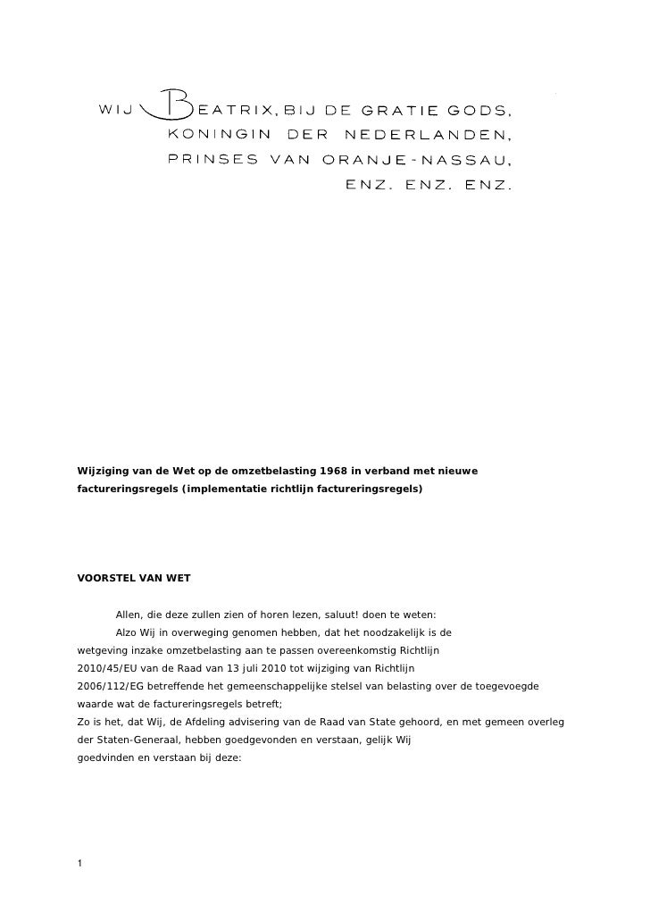 Wijziging van de Wet op de omzetbelasting 1968 in verband met nieuwefactureringsregels (implementatie richtlijn facturerin...