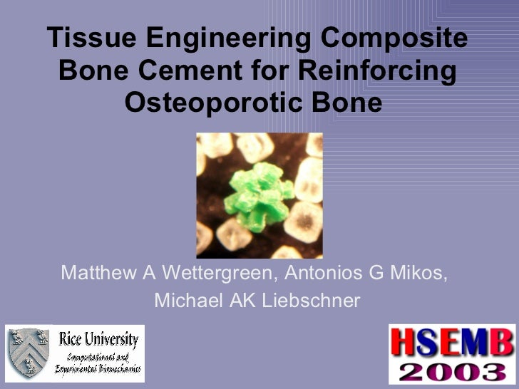 Tissue Engineering Composite Bone Cement for Reinforcing Osteoporotic Bone   Matthew A Wettergreen, Antonios G Mikos,  Mic...
