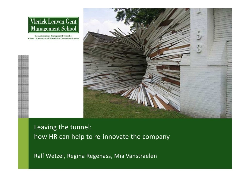 Leaving the tunnel:how HR can help to re-innovate the companyRalf Wetzel, Regina Regenass, Mia Vanstraelen