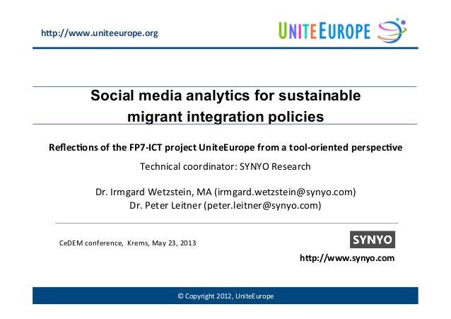 ©	  Copyright	  2012,	  UniteEurope	  Social media analytics for sustainablemigrant integration policiesReflec%ons	  of	  t...