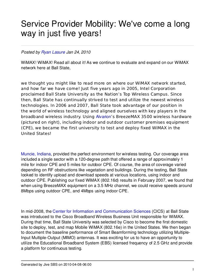 Service Provider Mobility: We've come a long way in just five years!  Posted by Ryan Lasure Jan 24, 2010  WiMAX! WiMAX! Re...