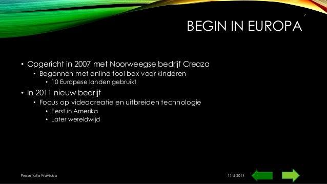 BEGIN IN EUROPA • Opgericht in 2007 met Noorweegse bedrijf Creaza • Begonnen met online tool box voor kinderen • 10 Europe...
