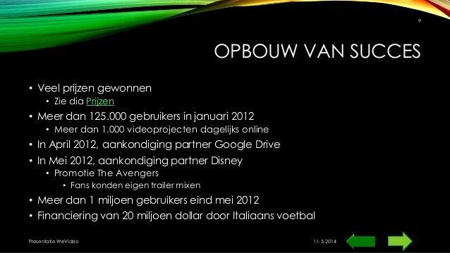 OPBOUW VAN SUCCES • Veel prijzen gewonnen • Zie dia Prijzen • Meer dan 125.000 gebruikers in januari 2012 • Meer dan 1.000...
