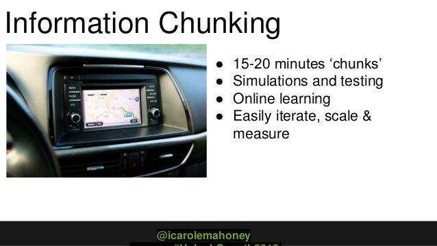 Information Chunking ● 15-20 minutes 'chunks' ● Simulations and testing ● Online learning ● Easily iterate, scale & measur...