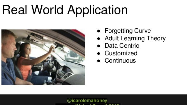 Real World Application ● Forgetting Curve ● Adult Learning Theory ● Data Centric ● Customized ● Continuous @icarolemahoney