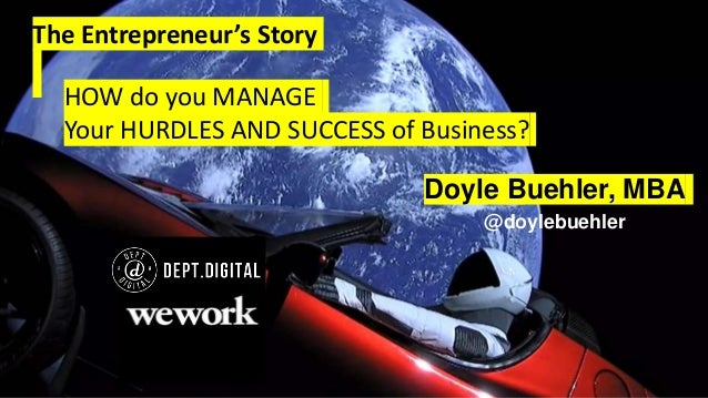 The Entrepreneur's Story Doyle Buehler, MBA @doylebuehler HOW do you MANAGE Your HURDLES AND SUCCESS of Business?