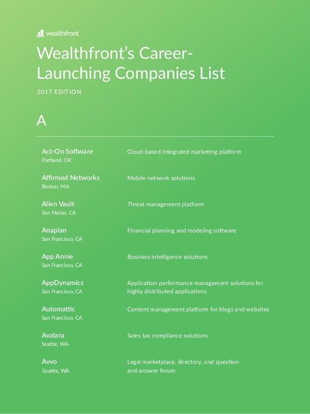 Wealthfront's Career- Launching Companies List 2017 EDITION Act-On So*ware Portland, OR Boston, MA San Mateo, CA San Franc...