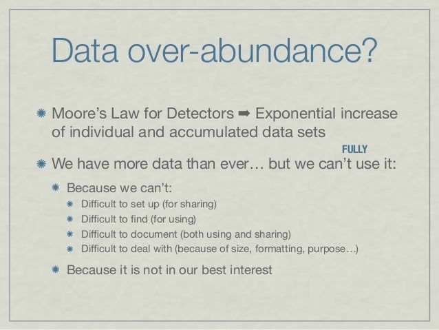 Data over-abundance Moore's Law for Detectors ➡ Exponential increase of individual and accumulated data sets We have more ...