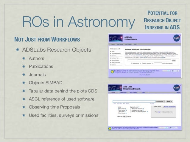 ROs in Astronomy ADSLabs Research Objects Authors Publications Journals Objects SIMBAD Tabular data behind the plots CDS A...