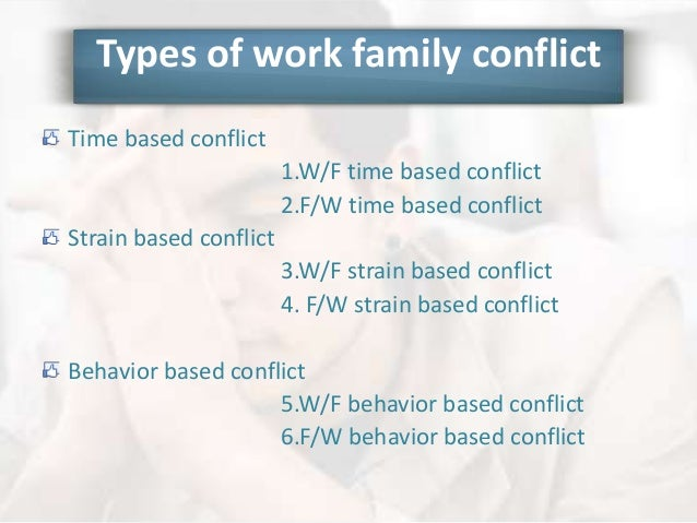 work family conflict This research investigated the relationship between both work-to-family conflict (wfc) and family-to-work conflict (fwc) and three nonattendance behaviors: absenteeism, leaving work early, and tardiness.