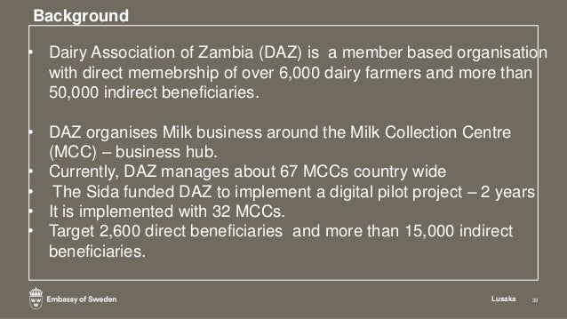 Results attained Lusaka 44 • Data base of dairy farmers has been correctly captured including the milk production levels o...