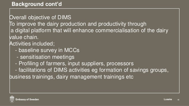 Results attained Lusaka 45 • Improved transaction processes ( eg processor to farmer , farmer to input supplier. • Improve...