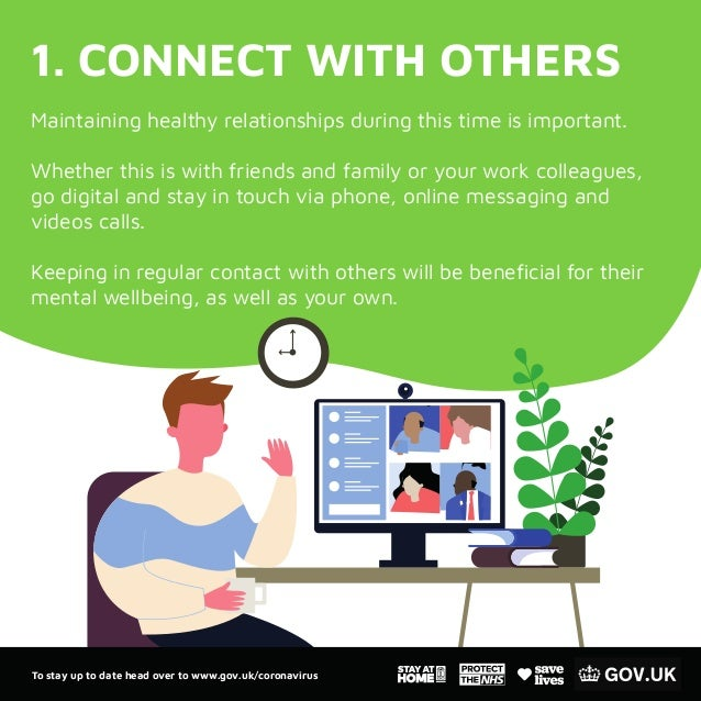 1. CONNECT WITH OTHERS Maintaining healthy relationships during this time is important. Whether this is with friends and f...