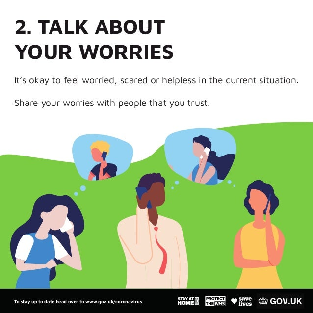 2. TALK ABOUT YOUR WORRIES It's okay to feel worried, scared or helpless in the current situation. Share your worries with...