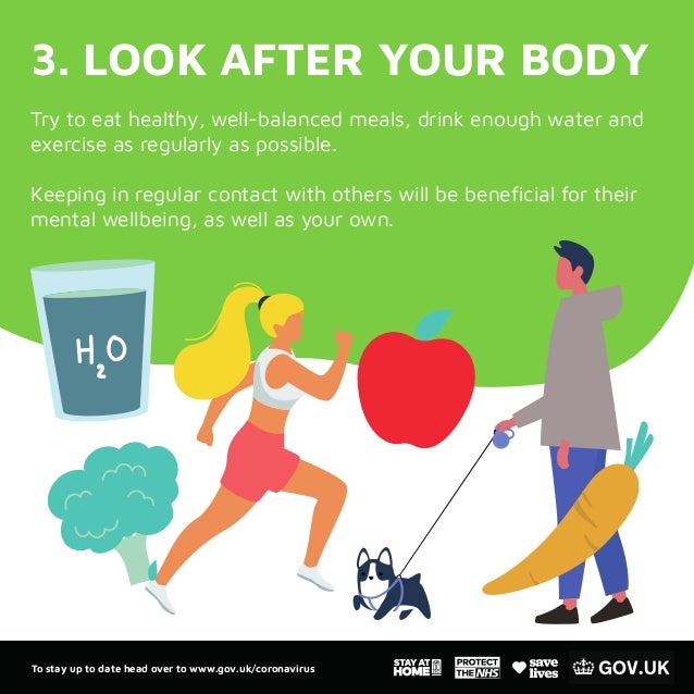 3. LOOK AFTER YOUR BODY Try to eat healthy, well-balanced meals, drink enough water and exercise as regularly as possible....