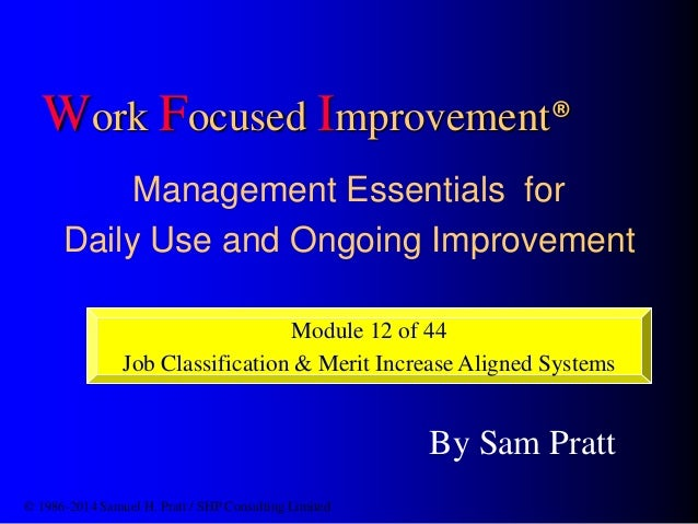 Work Focused Improvement® Management Essentials for Daily Use and Ongoing Improvement Module 12 of 44 Job Classification &...