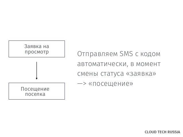 Заявка на просмотр Посещение поселка Отправляем SMS c кодом автоматически, в момент смены статуса «заявка» —> «посещение»