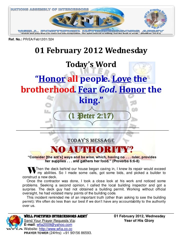 Ref. No.: PR/EA/Feb12/01/324                01 February 2012 Wednesday                                   Today's Word     ...