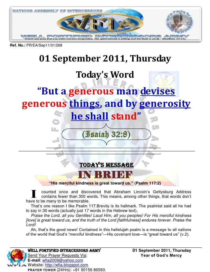 Ref. No.: PR/EA/Sep11/01/268               01 September 2011, Thursday                                    Today's Word    ...