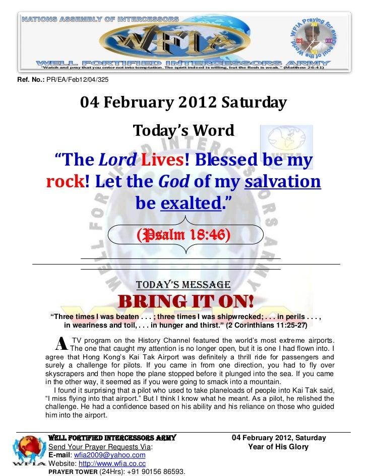 Ref. No.: PR/EA/Feb12/04/325                   04 February 2012 Saturday                                    Today's Word  ...