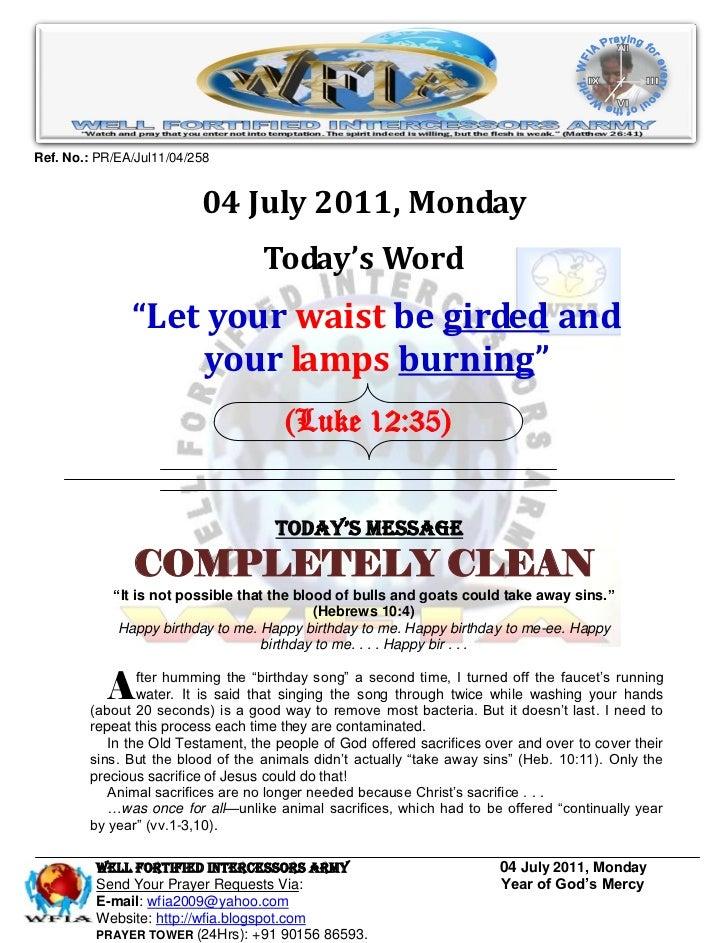 Ref. No.: PR/EA/Jul11/04/258                          04 July 2011, Monday                                   Today's Word ...