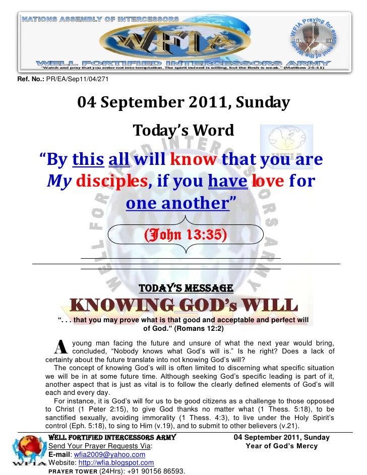 Ref. No.: PR/EA/Sep11/04/271                  04 September 2011, Sunday                                   Today's Word    ...